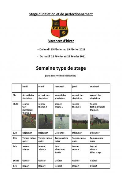 Programme FCBRY stage hiver 2021